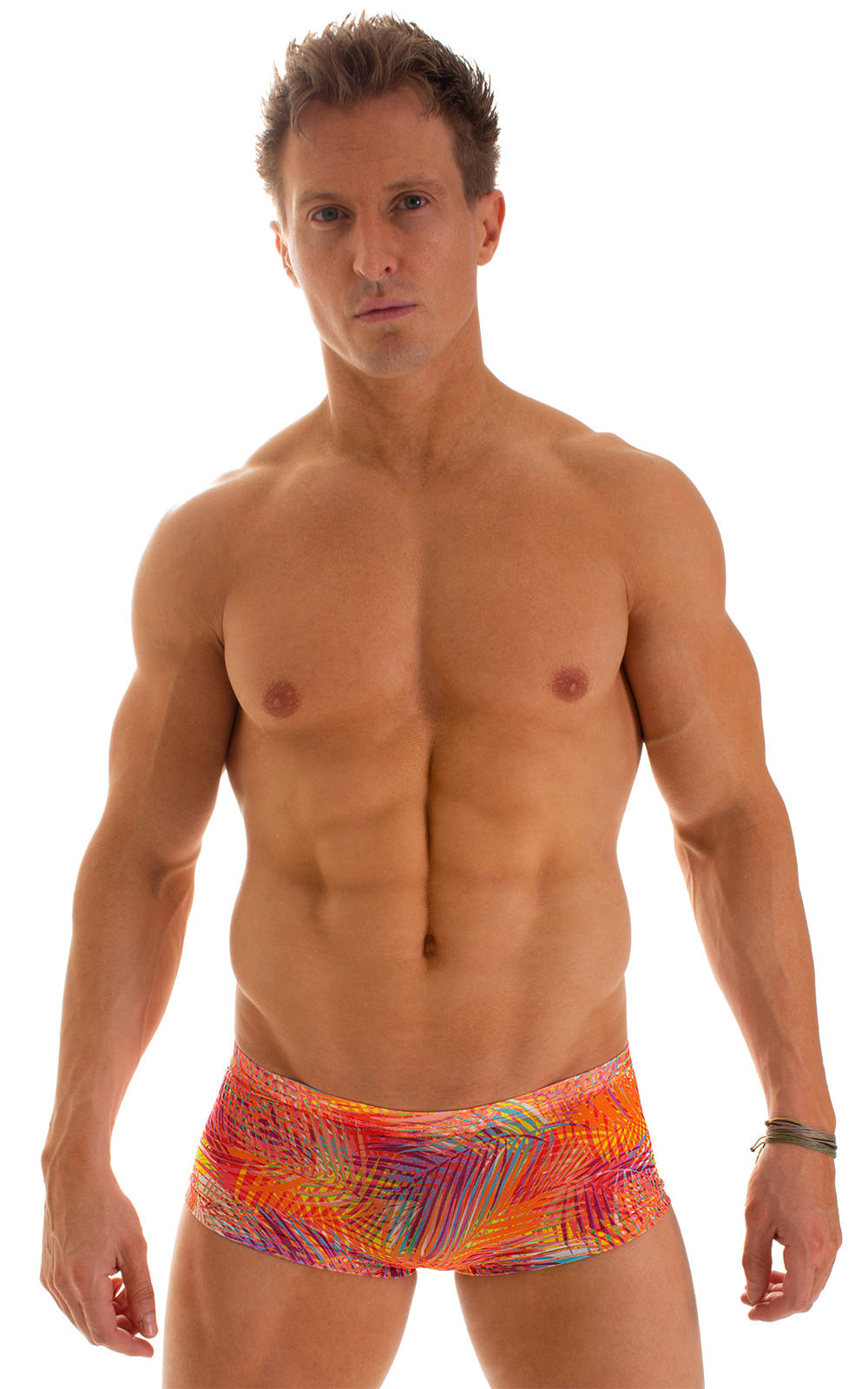 Extreme Low Square Cut Swim Trunks in Tan Through Orange Jungle 1
