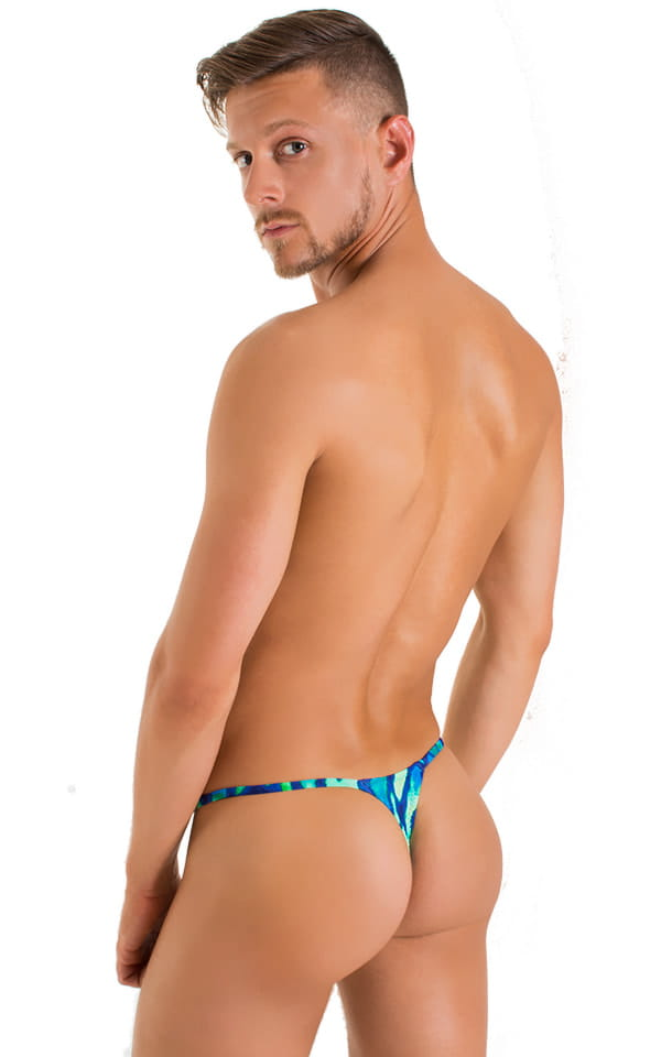 Smooth Pouch Skinny Sides Swim Thong in Beach Tiger Blue 3