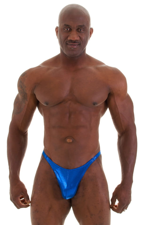 Posing Suit - Competition Bikini Cut in Metallic Royal Blue 5