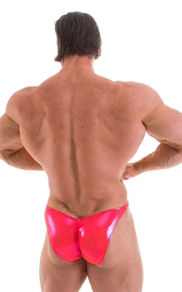 Fitted Pouch - Puckered Back - Posing Suit in Metallic Orangeade Fucshia 3