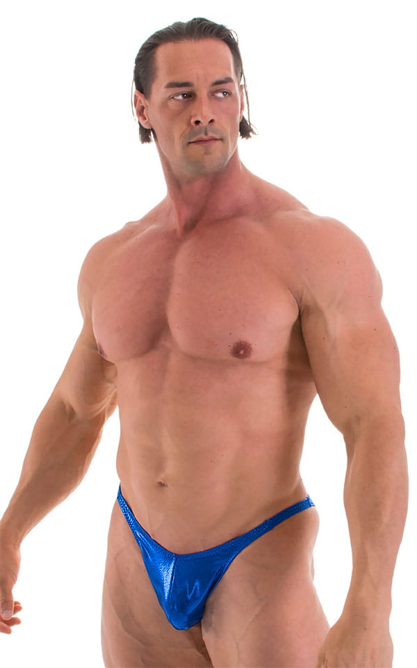 Fitted Pouch - Puckered Back - Posing Suit in Metallic Royal Blue 1