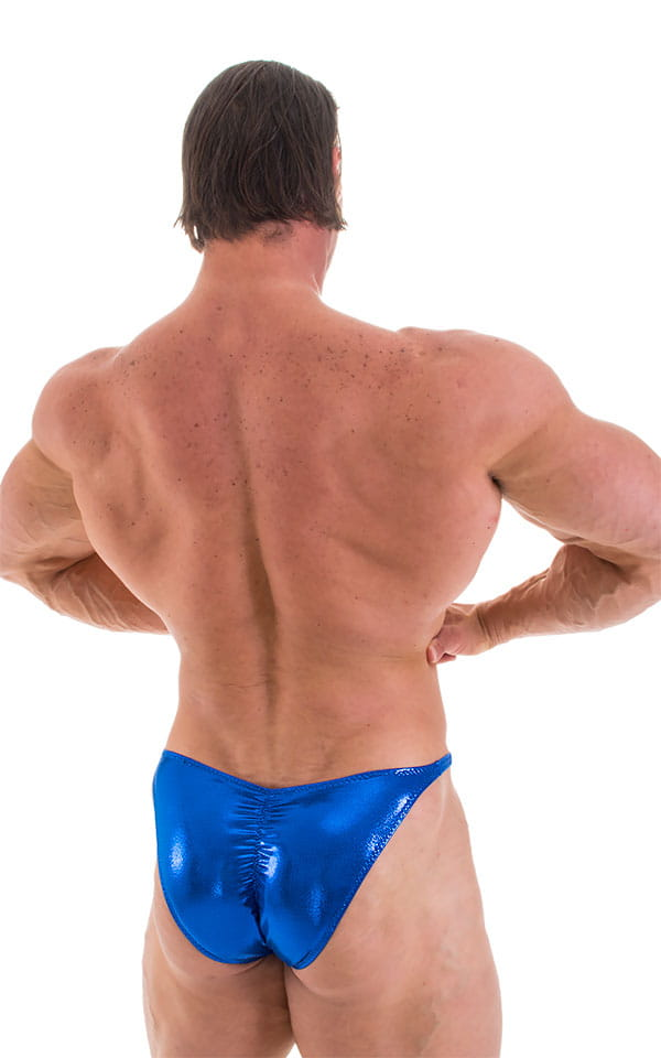 Fitted Pouch - Puckered Back - Posing Suit in Metallic Royal Blue 3