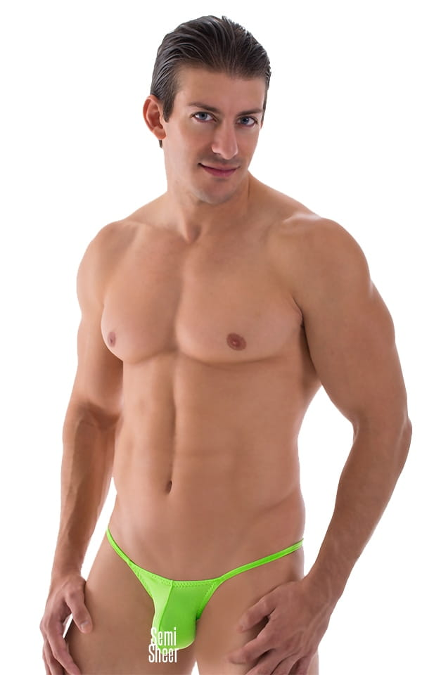 Mens Lime Green Stuffit Pouch Brazilian Swimsuit