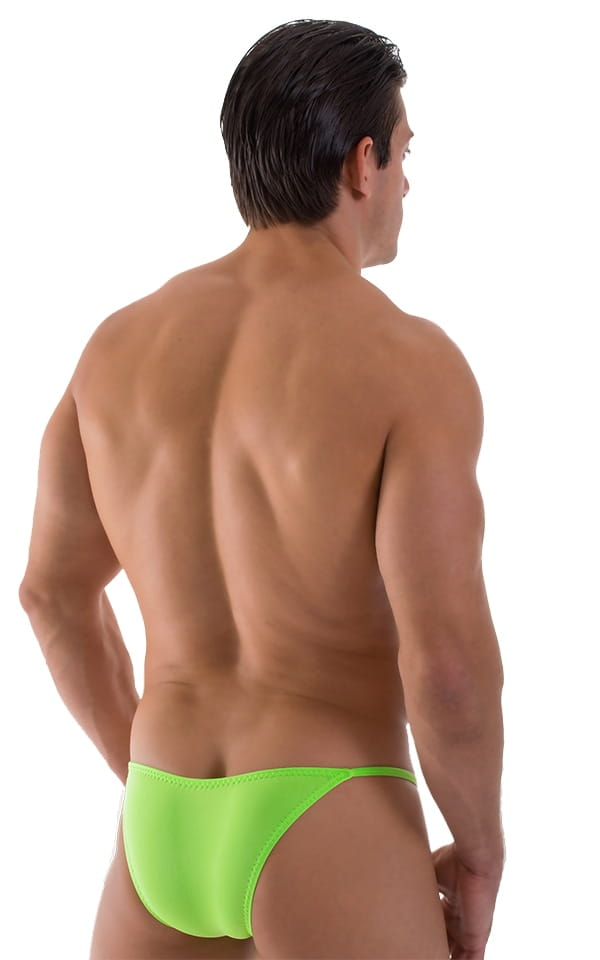 Mens Lime Green Stuffit Pouch Brazilian Swimsuit back view
