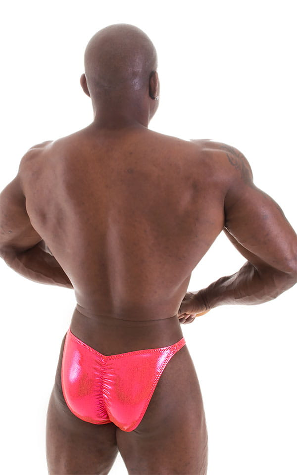 Fitted Pouch - Puckered Back - Posing Suit in Metallic Orangeade Fucshia 6