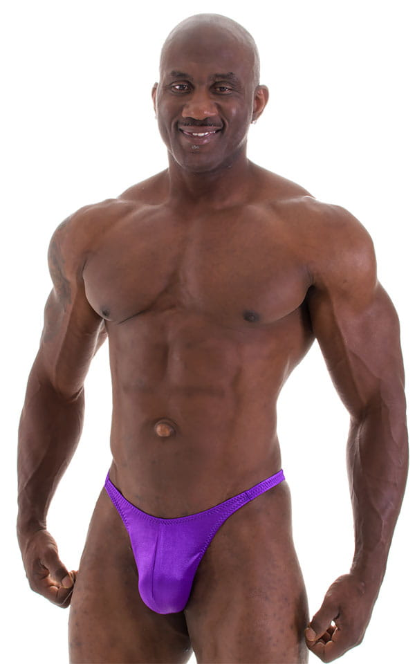 Fitted Pouch - Puckered Back - Posing Suit in Wet Look Purple 4