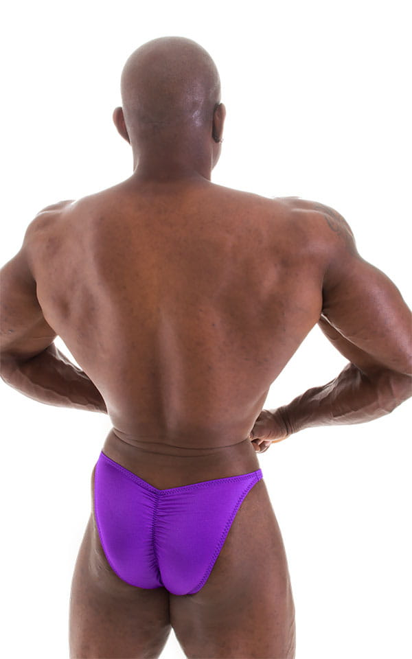 Fitted Pouch - Puckered Back - Posing Suit in Wet Look Purple 5