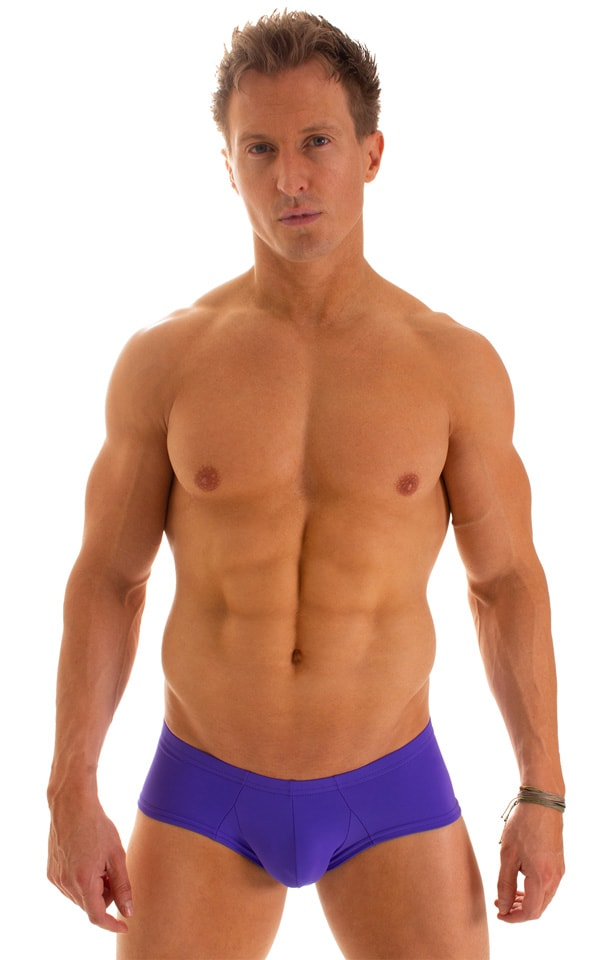 Pouch Enhanced Micro Square Cut Swim Trunks in Indaco 1