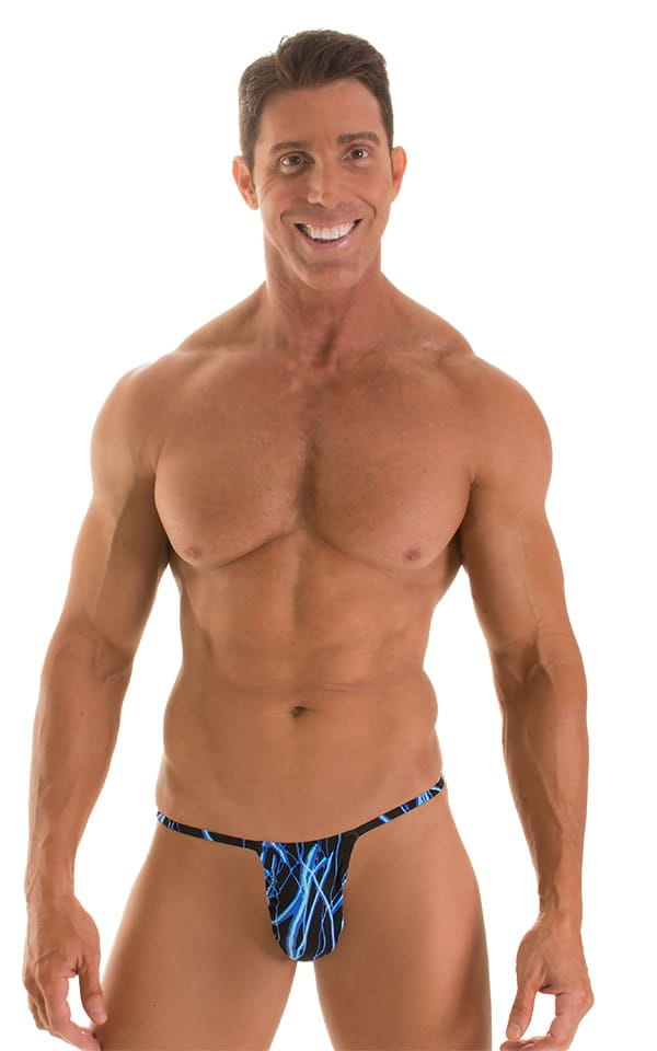 Roman G String Swim Thong in Laser Blue Lightning 1