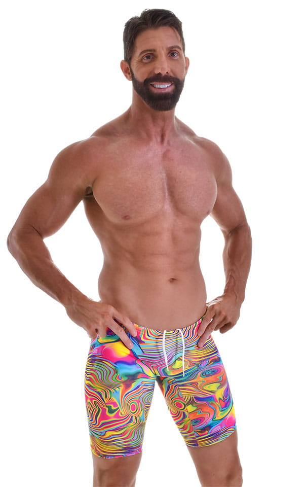 Swim-Dive Competition Watersports Shorts in Satin Lycra Neon Dali 4