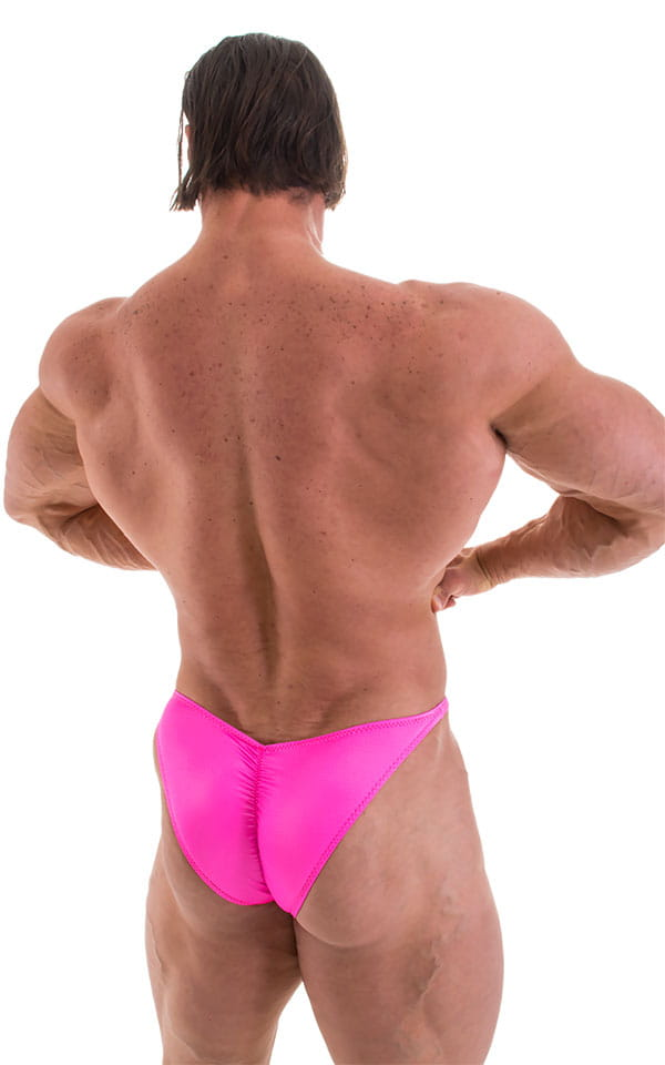 Posing Suit - Fitted Pouch - Puckered Back in Wet Look Hot Pink 3
