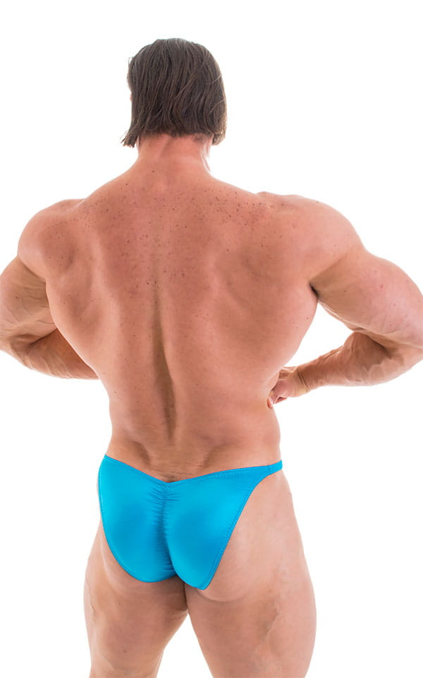 Fitted Pouch - Puckered Back - Posing Suit in Wet Look Turquoise 1