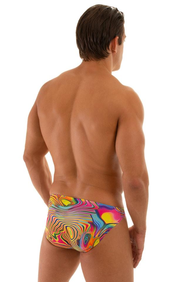Bikini-Brief Swimsuit in ThinSKINZ Neon Dali 2
