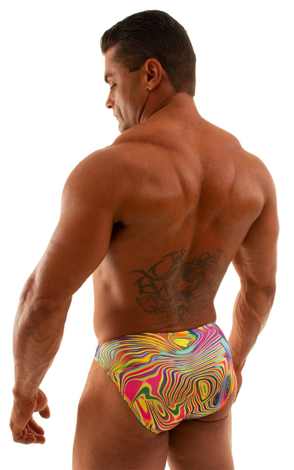 Bikini-Brief Swimsuit in ThinSkinz Neon Dali 6