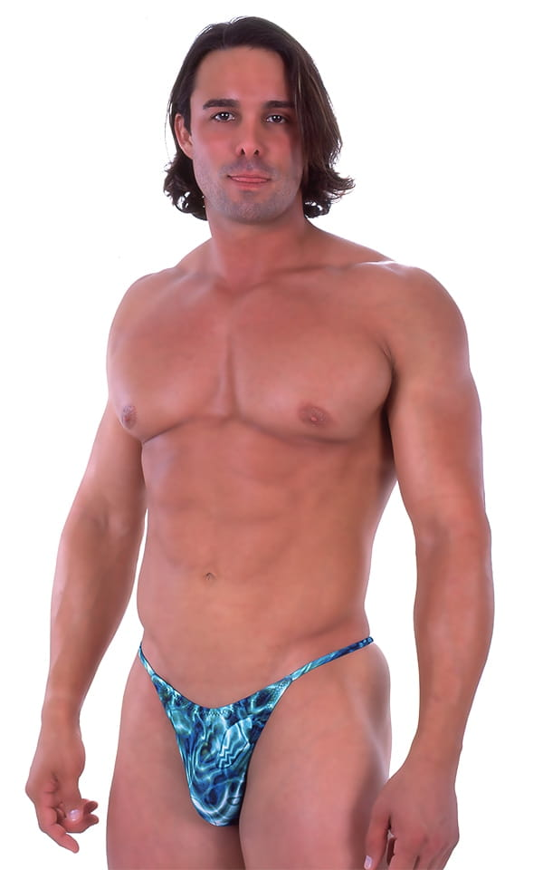 Skinny Side Half Back Swim Suit in Liquid Bahamas 1