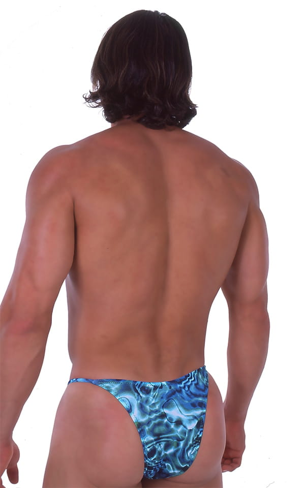 Skinny Side Half Back Swim Suit in Liquid Bahamas 3