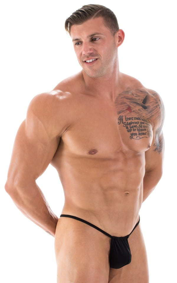 G String Swimsuit - Adjustable Pouch in Black 1