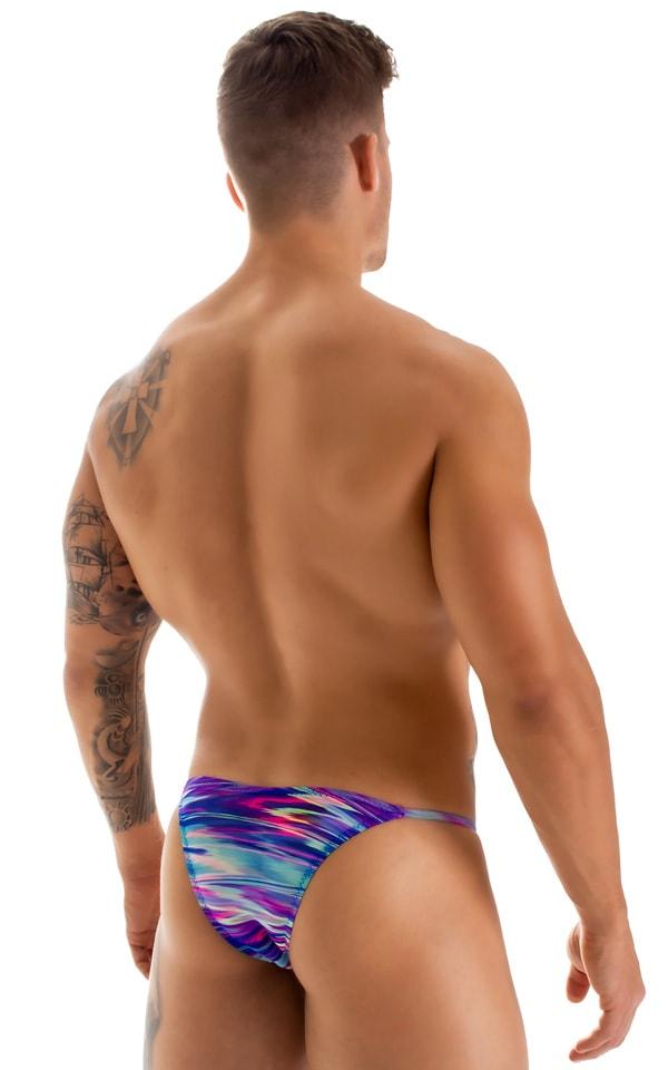 Super Low Brazilian Bikini in Semi Sheer Phaser Print on Mesh 2