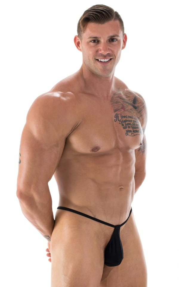 mens micro teardrop g string swimsuit black front