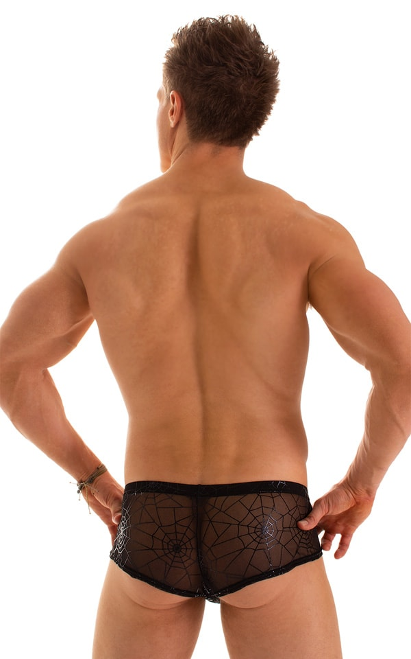 Pouch Enhanced Micro Square Cut Swim Trunks in Super ThinSKINZ Black and Spiderweb Mesh 2
