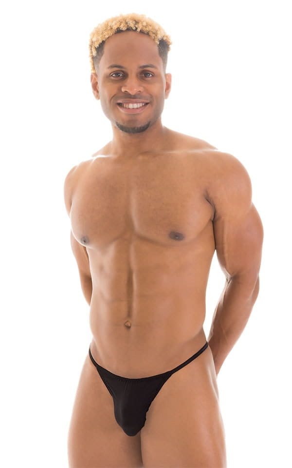 Smooth Pouch Skinny Sides Swim Thong in Super ThinSKINZ Black 1