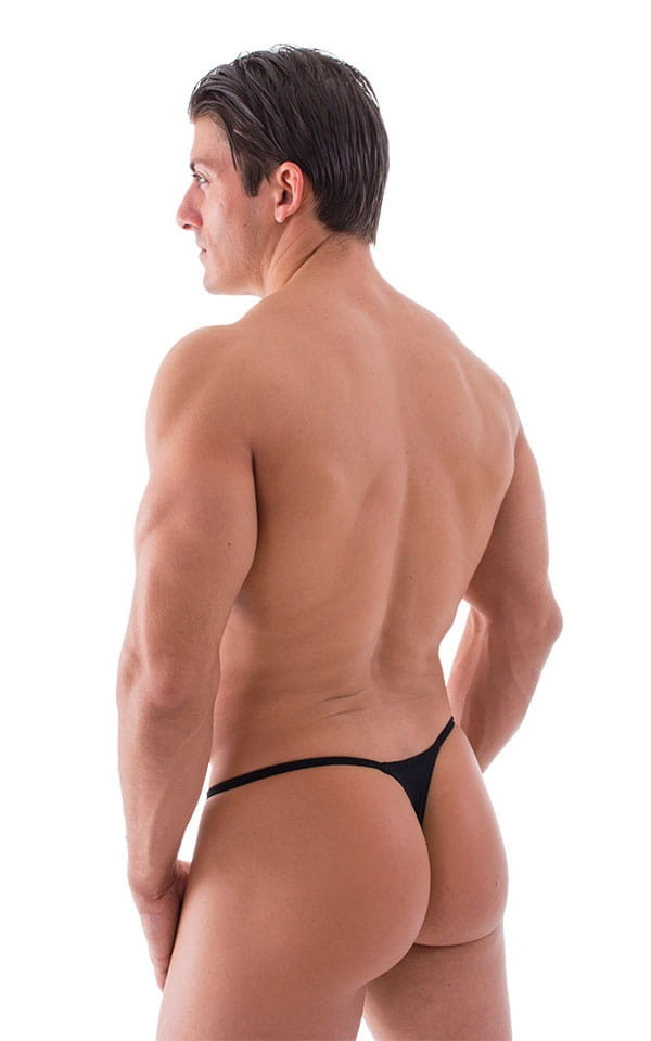 Smooth Pouch Skinny Sides Swim Thong in Semi Sheer Black 3