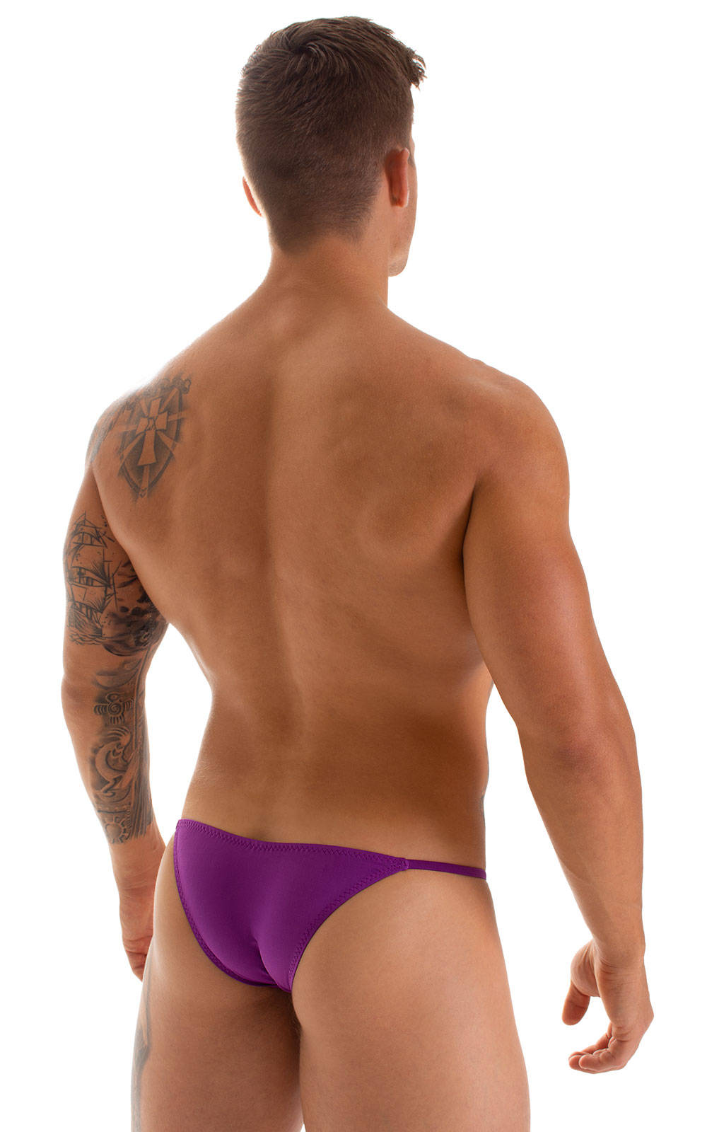 Stuffit Pouch Half Back Tanning Swimsuit in ThinSkinz Grape 2