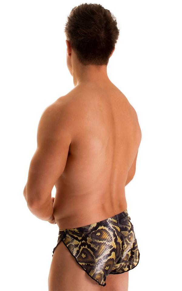 Swimsuit Cover Up Split Running Shorts in Super ThinSKINZ Giant Python 2