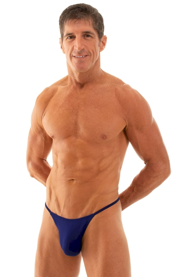 Y Back G String Swim Thong in Semi Sheer ThinSKINZ Royal Blue 1