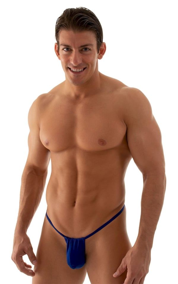 G String Swimsuit - Adjustable Pouch in Semi Sheer ThinSKINZ Royal Blue 1