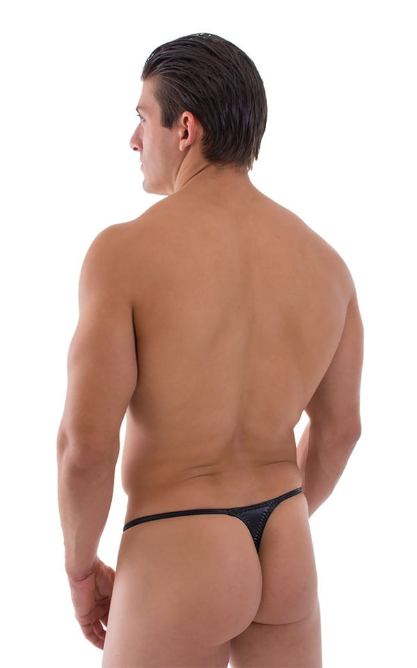 Smooth Pouch Skinny Sides Swim Thong in Wet Look Black 3