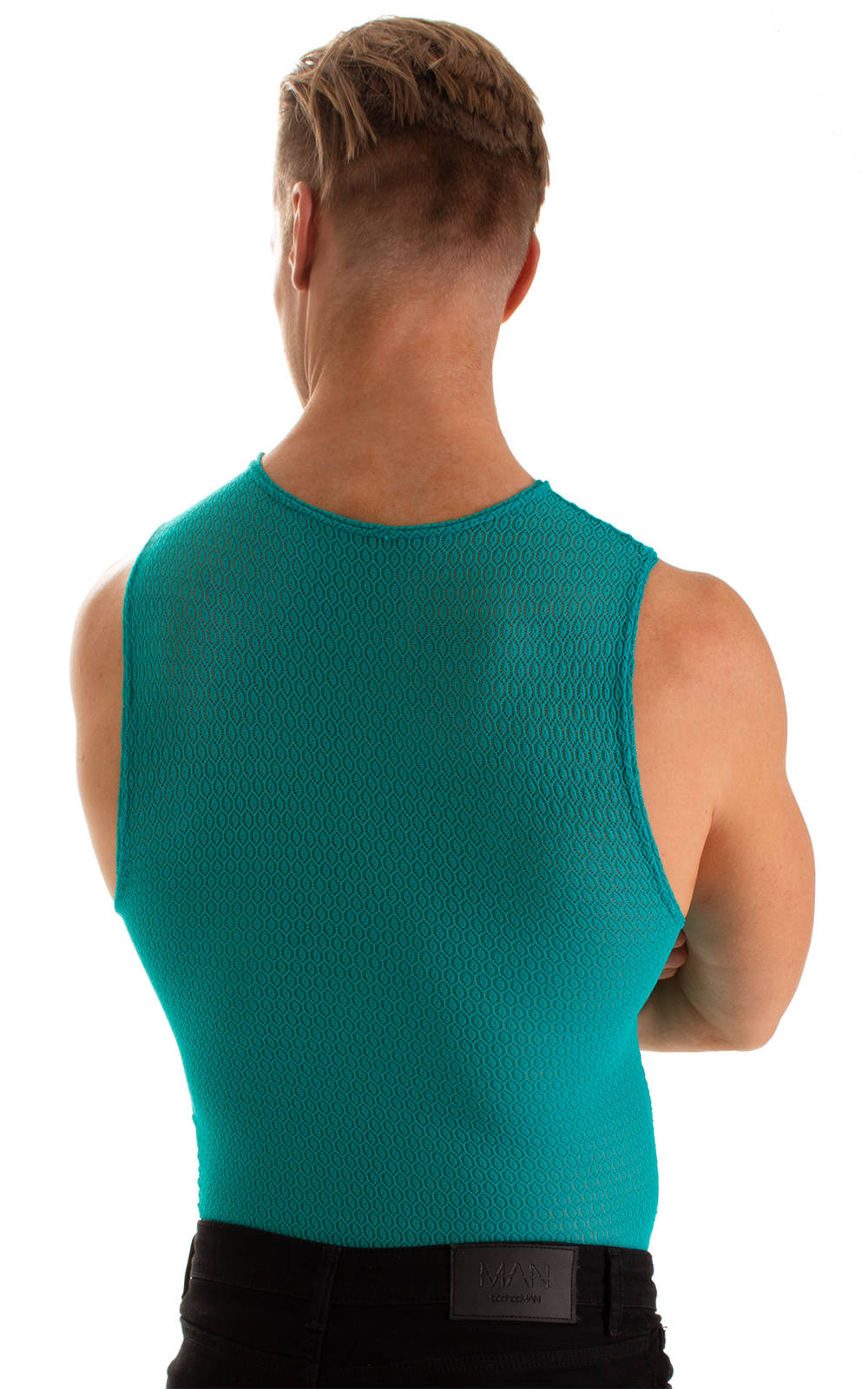 Sleeveless Lycra Muscle Tee in Teal Stretch Lace 2