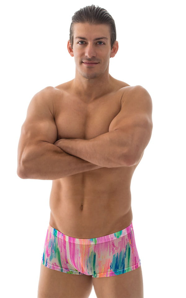 9b4b97f338 Extreme Low Square Cut Swim Trunks in Super ThinSKINZ Watercolors ...