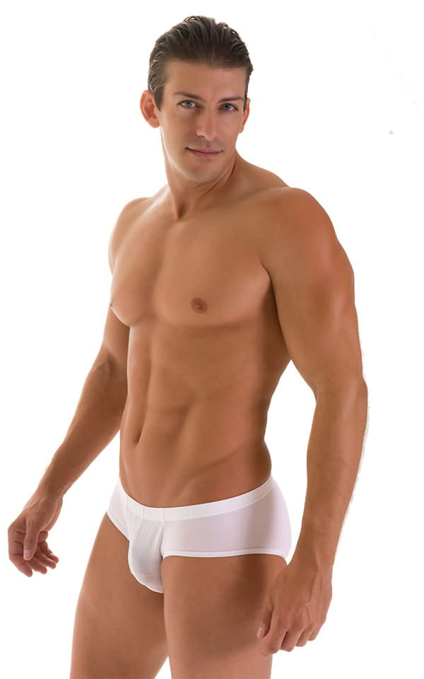 Pouch Brief Swimsuit in White Powernet and Super ThinSKINZ White 4