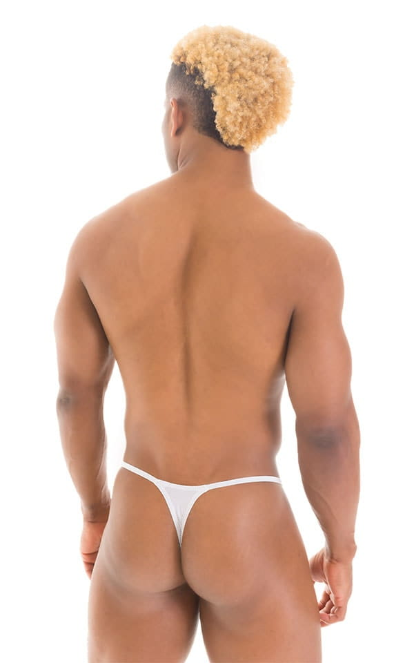 Smooth Pouch Skinny Sides Swim Thong in Super ThinSKINZ White 3