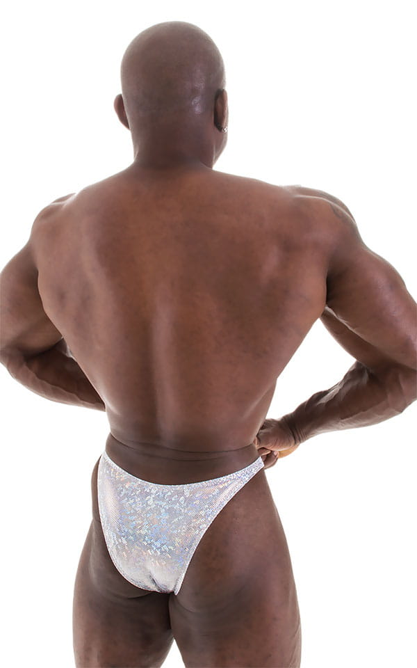 Bodybuilder Posing Suit - Narrow Back in Holographic White Silver 6