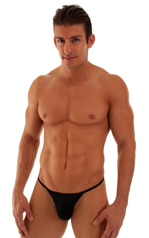 Smooth Pouch Skinny Sides Swim Thong in Black 1