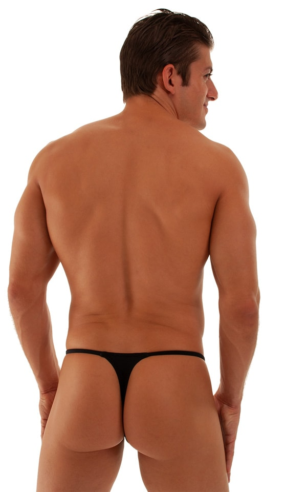 Smooth Pouch Skinny Sides Swim Thong in Black 3