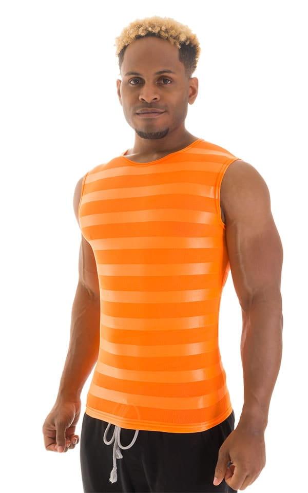 Sleeveless Lycra Muscle Tee in Orange Satin Stripe Mesh 1