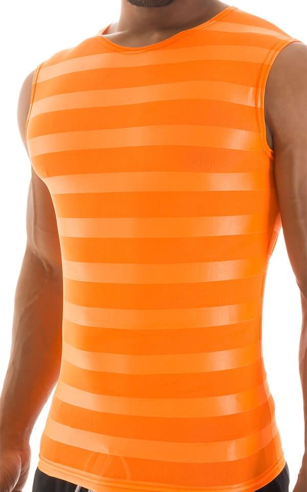 Sleeveless Lycra Muscle Tee in Orange Satin Stripe Mesh 4
