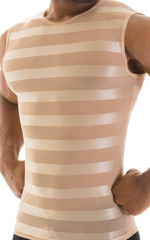 Sleeveless Lycra Muscle Tee in Sand Satin Stripe Mesh 4