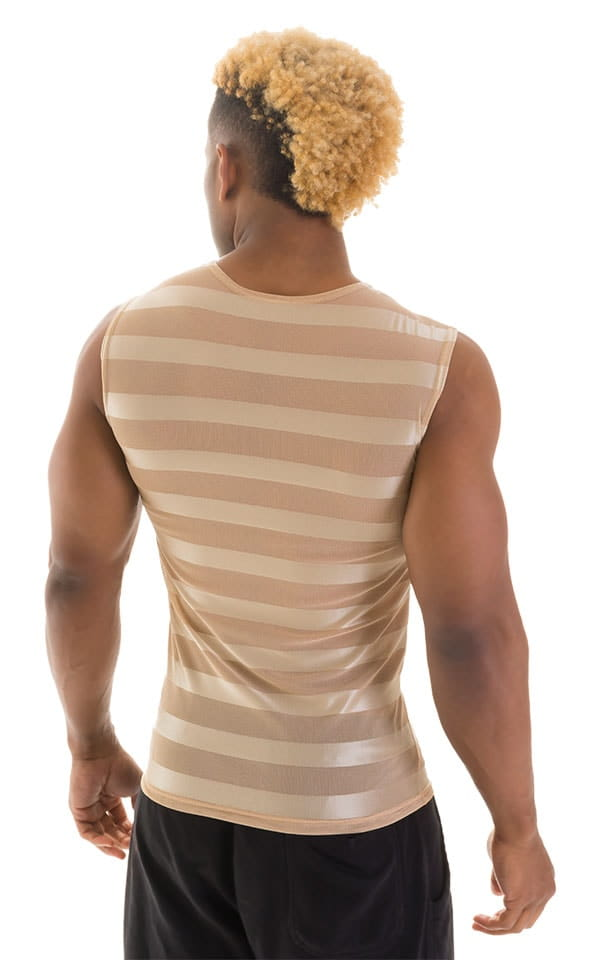 Sleeveless Lycra Muscle Tee in Sand Satin Stripe Mesh 3