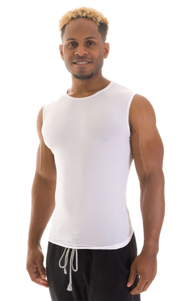 Sleeveless Lycra Muscle Tee in Super ThinSKINZ White 1