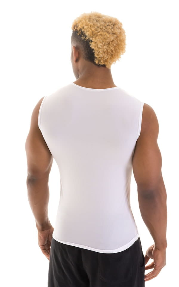 Sleeveless Lycra Muscle Tee in Super ThinSKINZ White 3