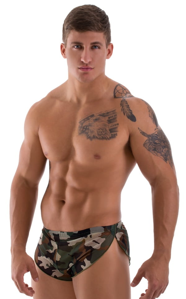 Swimsuit Cover Up Split Running Shorts in Mesh Camouflage 1