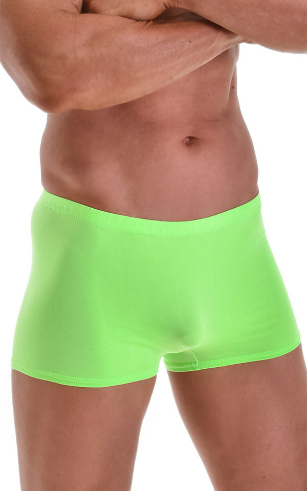 S57770quare Cut Seamless Swim Trunks in ThinSKINZ Neon Lime 4