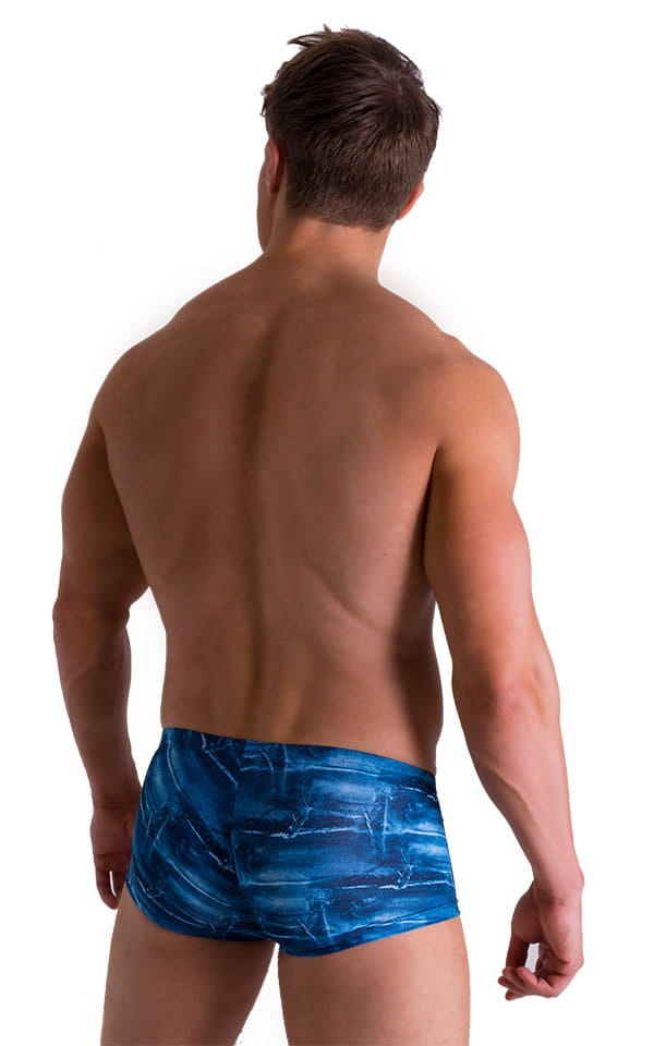 Extreme Low Square Cut Swim Trunks in Super ThinSKINZ Denim Patches 2