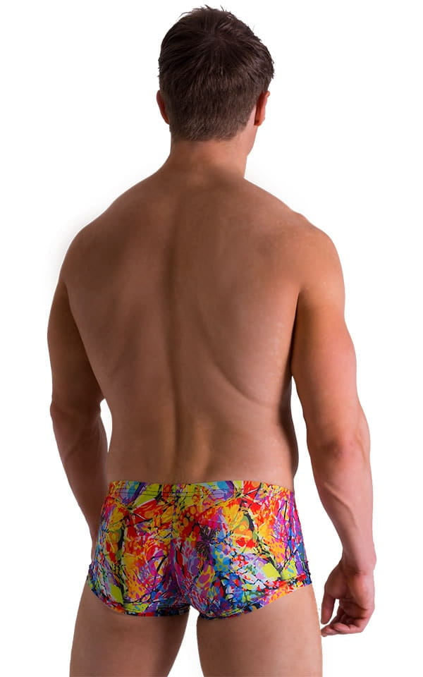 Extreme Low Square Cut Swim Trunks in Super ThinSKINZ Neon Riot 2