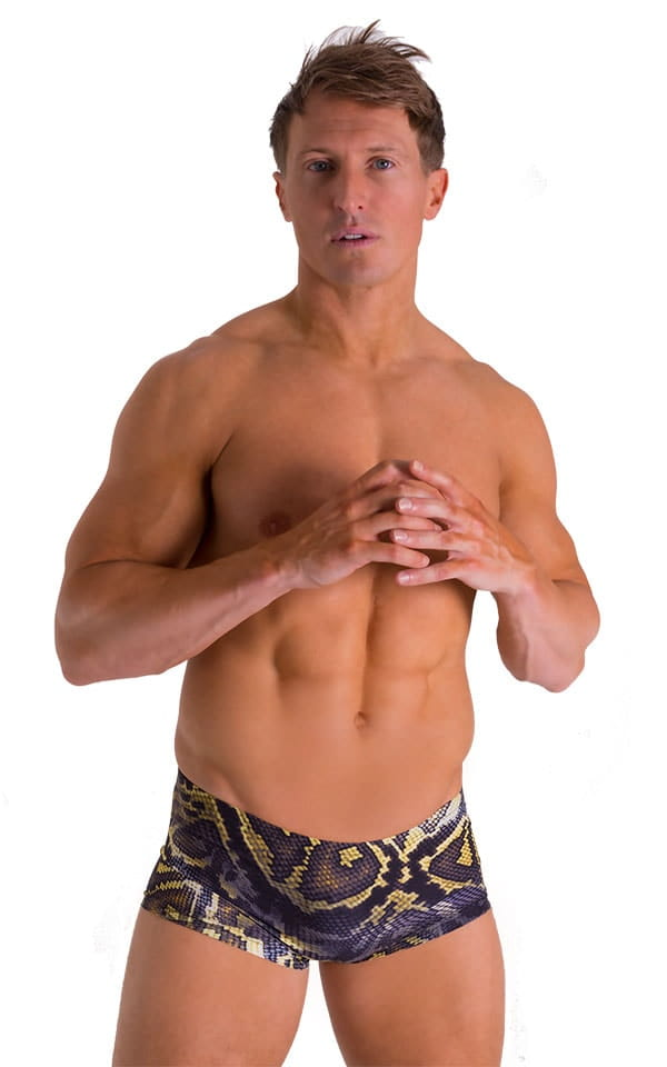 Extreme Low Square Cut Swim Trunks in Super ThinSKINZ Giant Python 1