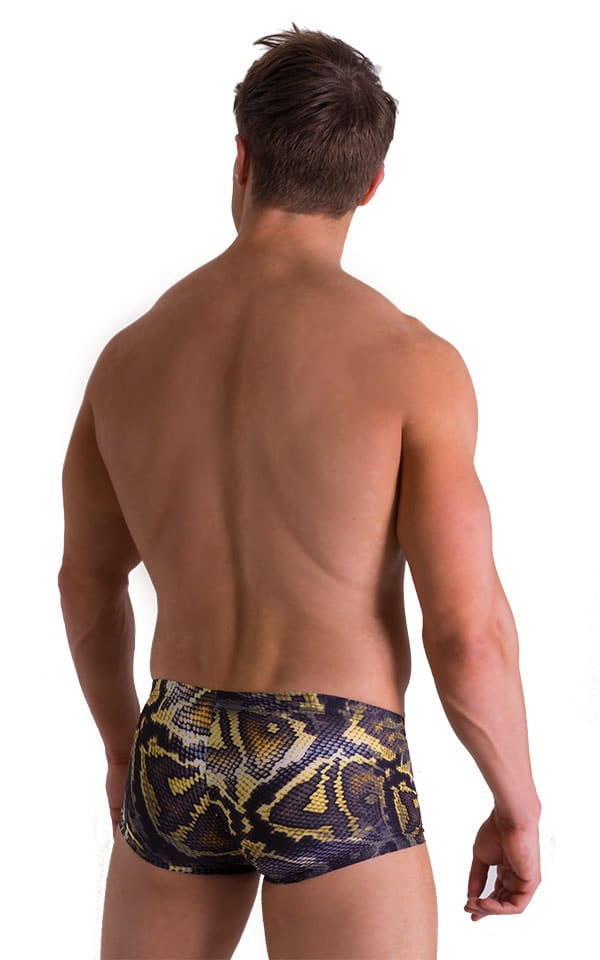 Extreme Low Square Cut Swim Trunks in Super ThinSKINZ Giant Python 2
